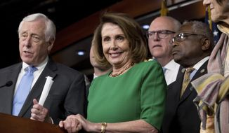 From left, House Minority Leader Nancy Pelosi of Calif., accompanied by Democratic Whip Steny Hoyer, D-Md., Rep. Joseph Crowley, D-N.Y., and Jim Clyburn, D-S.C. take questions from members of the media during a news conference on Capitol Hill in Washington, Friday, March 24, 2017. Republican leaders have abruptly pulled their troubled health care overhaul bill off the House floor, short of votes and eager to avoid a humiliating defeat for President Donald Trump and GOP leaders. Pelosi is mocking House Republicans for failing to repeal and replace President Barack Obama's health law. (AP Photo/Andrew Harnik)