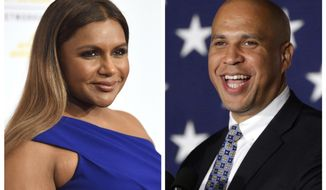 """FILE - In this combination photo, Mindy Kaling, left, arrives at the 41st annual Gracie Awards Gala on May 24, 2016, in Beverly Hills, Calif., and Sen. Cory Booker, D-N.J., addresses supporters during an election night victory gathering on Nov. 4, 2014  in Newark, N.J. Booker has invited Kaling to dinner in Newark after the actress' character on """"The Mindy Project,"""" made a joke about Newark. Booker's spokesman says the date hasn't yet been scheduled. (AP Photo/Chris Pizzello, left, and Julio Cortez)"""