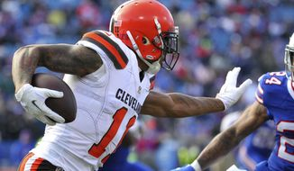 In this photo taken Dec. 18, 2016, then-Cleveland Browns wide receiver Terrelle Pryor (11) runs during the first half of an NFL football game in Orchard Park, N.Y.  Several players in their 20s wound up with one-year contracts during NFL free agency. That group includes Pryor and Alshon Jeffrey. Some think that is a viable option. Others think players should try to get longer deals. (AP Photo/Bill Wippert)