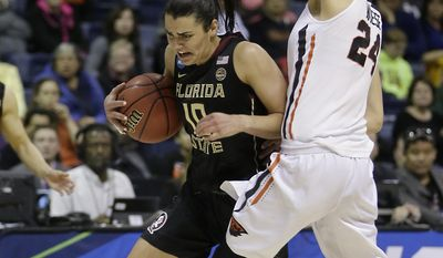 Florida State guard Leticia Romero, left, drives against Oregon State guard Sydney Wiese during the first half of a regional semi-final round game of an NCAA college basketball tournament, Saturday, March 25, 2017, in Stockton, Calif. (AP Photo/Rich Pedroncelli)