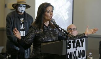 Oakland Mayor Libby Schaaf gestures while speaking during a rally to keep the Oakland Raiders from moving Saturday, March 25, 2017, in Oakland, Calif. NFL owners are expected to vote on the team's possible relocation to Las Vegas on Monday or Tuesday at their meeting in Phoenix. (AP Photo/Eric Risberg)