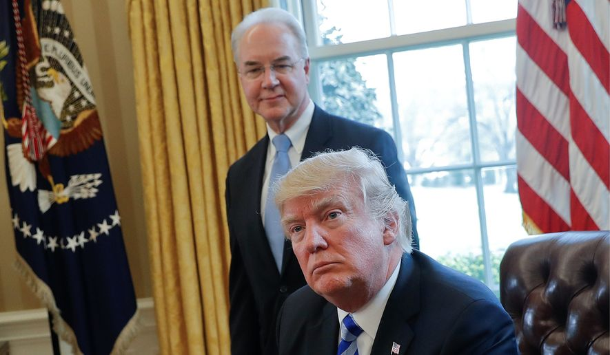 After a loss in his bid to overturn Obamacare, President Trump and Health and Human Services Secretary Thomas Price are hoping to move on to a second phase, stripping a provision requiring insurers to pay for mental health and maternity care. (Associated Press)