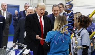 Then-President-elect Donald Trump greets workers during a visit to the Carrier Corp. factory in Indianapolis, in this Dec. 1, 2016, file photo. The $7 million deal to save jobs at the Carrier factory in Indianapolis is poised for approval by state officials nearly four months after President Donald Trump celebrated his role in the negotiations with a post-election visit to the plant. (AP Photo/Evan Vucci, File)