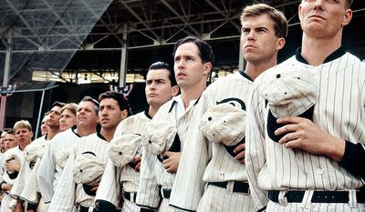Eight Men Out  (1988)  - Based on Eliot Asinof's 1963 book Eight Men Out: The Black Sox and the 1919 World Series. It was written and directed by John Sayles. The film is a dramatization of Major League Baseball's Black Sox scandal, in which eight members of the Chicago White Sox conspired with gamblers to intentionally lose the 1919 World Series.
