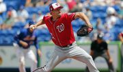 Washington Nationals starting pitcher Max Scherzer (31) works in the fifth inning of a spring training baseball game against the New York Mets Monday, March 27, 2017, in Port St. Lucie, Fla. (AP Photo/John Bazemore)