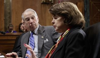 Senate Judiciary Committee Chairman Sen, Charles Grassley, R-Iowa, listens as the committee's ranking member Sen. Dianne Feinstein, D-Calif., requests a one-week postponement for the panel to vote on Supreme Court nominee Neil Gorsuch, Monday, March 27, 2017, on Capitol Hill in Washington. Feinstein expressed the minority Democrats' lingering resentment over the last year's denial of a hearing for Judge Merrick Garland, President Barack Obama's pick for the vacancy left by the death of Justice Antonin Scalia which was thwarted by the Republican leadership. (AP Photo/J. Scott Applewhite)