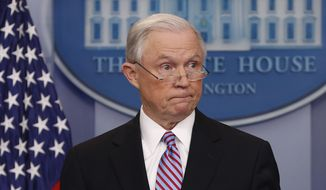 Attorney General Jeff Sessions pauses while speaking to members of the media during the daily briefing in the Brady Press Briefing Room of the White House in Washington, Monday, March 27, 2017. (AP Photo/Pablo Martinez Monsivais)
