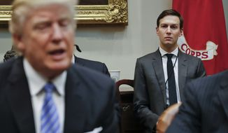 In this Monday, Jan. 23, 2017, file photo, White House Senior Adviser Jared Kushner, right, listens to President Donald Trump speak during a breakfast with business leaders in the Roosevelt Room of the White House in Washington. Trump is set to announce a new White House office run by his son-in-law, Kushner, that will seek to overhaul government functions using ideas from the business sector. (AP Photo/Pablo Martinez Monsivais, File)