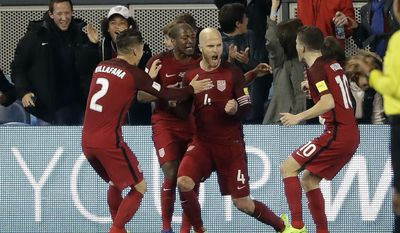 United States' Michael Bradley (4) celebrates his goal with teammates during the first half of a World Cup qualifying soccer match against Honduras on Friday, March 24, 2017, in San Jose, Calif. (AP Photo/Marcio Jose Sanchez)