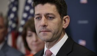 House Speaker Paul Ryan of Wis., joined by members of the GOP leadership, pauses as he speaks on Capitol Hill in Washington,  Tuesday, March 28, 2017, about getting past last week's failure to pass a health care overhaul bill and rebuilding unity in the Republican Conference. (AP Photo/J. Scott Applewhite)