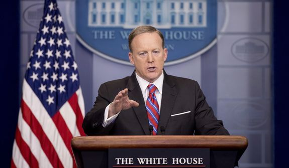 White House press secretary Sean Spicer talks to the media during the daily press briefing at the White House in Washignton, Tuesday, March 28, 2017. Spicer discussed the Supreme Court nominee Justice Neil Gorsuch, jobs, and other topics. (AP Photo/Andrew Harnik)