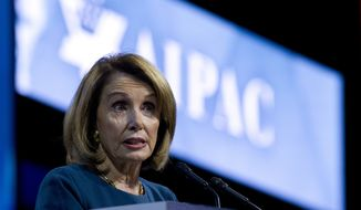 House Minority Leader Nancy Pelosi of Calif. speaks at the 2017 American Israel Public Affairs Committee (AIPAC) Policy Conference, Tuesday, March 28, 2017, at the Washington Convention Center in Washington. (AP Photo/Jose Luis Magana)