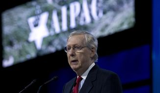 Senate Majority Leader Mitch McConnell of Ky. speaks at the 2017 American Israel Public Affairs Committee (AIPAC) Policy Conference, Tuesday, March 28, 2017,  at the Washington Convention Center in Washington. (AP Photo/Jose Luis Magana)