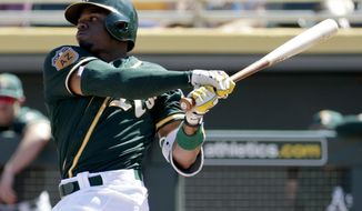In this Saturday, March 18, 2017, photo, Oakland Athletics center fielder Rajai Davis hits against the San Diego Padres during the second inning of a spring training baseball game in Mesa, Ariz. The 36-year-old Davis brings a speed element Oakland can really use at the top of the order. (AP Photo/Matt York)
