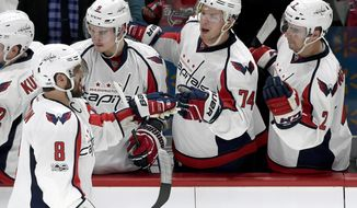 Washington Capitals left wing Alex Ovechkin (8), of Russia, is congratulated by Dmitry Orlov (9), of Russia, John Carlson (74) and Matt Niskanen (2) on scoring a goal against the Minnesota Wild on the power play during the second period of an NHL hockey game, Tuesday, March 28, 2017, in St. Paul, Minn. (AP Photo/Hannah Foslien)
