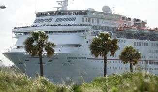 FILE - In this Monday, June 20, 2016, file photo, the Carnival Fantasy cruise ship leaves PortMiami, in Miami Beach, Fla. Carnival Corporation reports earnings Tuesday, March 28, 2017. (AP Photo/Lynne Sladky, File)