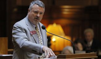 Rep. Earl Ehrhart presents SB 71 Tuesday, March 28, 2017, in Atlanta. House leaders are trying to force a vote on a bill overhauling colleges' disciplinary processes in reports of sexual assault but opposed by advocates for victims of such crimes. A Senate committee halted the bill's progress last week, but the bill sponsor, Ehrhart, is using a legislative maneuver to bring it for a House vote and send it straight to the full Senate. (Bob Andres/Atlanta Journal-Constitution via AP)