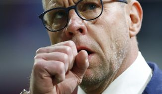 Netherlands' interim coach Fred Grim reacts prior the international friendly soccer match between The Netherlands and Italy at the Amsterdam ArenA stadium, Netherlands, Tuesday, March 28, 2017. (AP Photo/Peter Dejong)