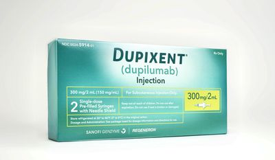 This image provided by Sanofi shows a box containing two single-dose pre-filled syringes of the drug Dupixent. On Tuesday, March 28, 2017, the Food and Drug Administration approved Dupixent for moderate or severe eczema, which causes red, fiercely itchy rashes on the face, arms and legs. (Rodrigo Cid/Sanofi via AP)