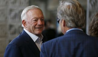 Dallas Cowboys owner Jerry Jones arrives at the NFL football annual meetings, Monday, March 27, 2017, in Phoenix. (AP Photo/Ross D. Franklin)