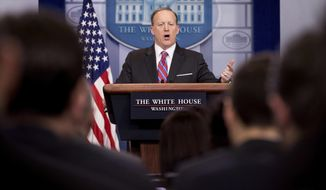 White House press secretary Sean Spicer talks to the media during the daily press briefing at the White House in Washington, Tuesday, March 28, 2017. Spicer discussed the Supreme Court nominee Justice Neil Gorsuch, jobs, and other topics. (AP Photo/Andrew Harnik)