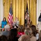 From left, Seema Verma, Administrator of the Centers for Medicare and Medicaid Services, U.S. Ambassador to the UN Nikki Haley, Small Business Administration Administrator Linda McMahon, and Education Secretary Betsy DeVos, appear on stage as President Donald Trump speaks at a women's empowerment panel in the East Room of the White House, Wednesday, March 29, 2017, in Washington. (AP Photo/Andrew Harnik)