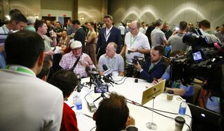 Arizona Cardinals head coach Bruce Arians speaks with reporters during the NFC Head Coaches Breakfast at the NFL football annual meetings Wednesday, March 29, 2017, in Phoenix. (AP Photo/Ross D. Franklin)