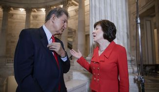 In this March 28, 2017, file photo, Sen. Joe Manchin, D-W. Va., left, and Sen. Susan Collins, R-Maine, who serve together on the Senate Appropriations Committee and the Senate Intelligence Committee, confer on Capitol Hill after doing television news interviews, in Washington. Sen. Manchin said Thursday he would vote for Neil Gorsuch, making him the first Democrat to express support for Trump's pick for the Supreme Court. Manchin is up for re-election in 2018 and West Virginia is a strong Trump state. (AP Photo/J. Scott Applewhite, file)