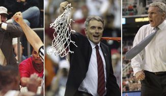 FILE - In this combination of three file photos shows, from left, Maryland head coach Gary Williams cannot believe his ears as the referee calls a foul on one of his Maryland players during ACC basketball action on Jan. 29, 1997 in Tallahassee, Fla., Williams swings the net after his Terps beat Indiana 64-52 in the NCAA final on April 1, 2002 in Atlanta, and Williams, right, yells at his team in the first half against Boston College during a quarterfinal Atlantic Coast Conference basketball tournament game on March 10, 2006, in Greensboro, N.C. (AP Photo/Files)
