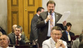 Rep. Jerry Sexton, R-Bean Station, speaks on the House floor in Nashville, Tenn., on Thursday, March 30, 2017. Tempers flared among Republicans during the floor session about disagreements over Gov. Bill Haslam's road funding proposal. (AP Photo/Erik Schelzig)