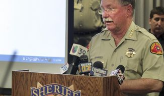"""FILE - In this Aug. 11, 2015 file photo, Kern County Sheriff Donny Youngblood talks during a news conference in Bakersfield, Calif. The sheriff of Kern County has become the latest law enforcement official to lash back at a weekly report from federal immigration officials on jurisdictions that aren't cooperating with them. Sheriff Donny Youngblood said in a news conference Thursday, March 30, 2017, that the report contained """"fake information."""" (Casey Christie/The Bakersfield Californian via AP, File)"""