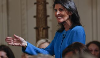 U.S. Ambassador to the UN Nikki Haley is introduced at the Women's Empowerment Panel, Wednesday, March 29, 2017, at the White House in Washington. (AP Photo/Pablo Martinez Monsivais)