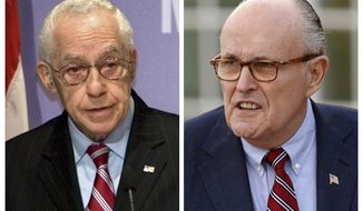 FILE - In this combination of file photos, then Attorney General Michael Mukasey, left, speaks at the U.S. Holocaust Memorial Museum in Washington on Dec. 16, 2008 and former New York Mayor Rudy Giuliani arrives for meetings with President-elect Donald Trump on Nov. 20, 2016, in Bedminster, N.J. A judge has been told that Mukasey and Giuliani are working for Turkish businessman Reza Zarrab who is charged with helping Iran evade U.S. sanctions. The judge had asked for clarification this week after prosecutors asked him to ensure there are no conflicts of interest.  (AP Photo/J. Scott Applewhite, left, and Carolyn Kaster, Files)