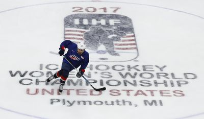 United States' Alex Carpenter skates during practice in preparation for the IIHF Women's World Championship hockey tournament, Thursday, March 30, 2017, in Plymouth, Mich. (AP Photo/Paul Sancya)
