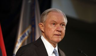 Attorney General Jeff Sessions speaks about crime to local, state and federal law enforcement officials Friday, March 31, 2017, in St. Louis. (AP Photo/Jeff Roberson) ** FILE **
