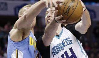 Charlotte Hornets' Frank Kaminsky (44) drives against Denver Nuggets' Mason Plumlee (24) in the first half of an NBA basketball game in Charlotte, N.C., Friday, March 31, 2017. (AP Photo/Chuck Burton)