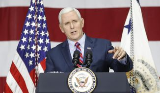 Vice President Mike Pence gives formal remarks at DynaLab, Inc., Saturday, April 1, 2017, in Reynoldsburg, Ohio. Pence visited with businesspeople at DynaLab, Inc., an American electronics manufacturing services company, and toured the facility before delivering remarks to news media. (AP Photo/John Minchillo) ** FILE **