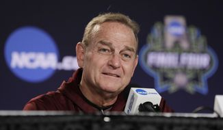 Mississippi State head coach Vic Schaefer takes part in a news conference at the women's Final Four college basketball tournament, Saturday, April 1, 2017, in Dallas.  Mississippi State will play South Carolina on Sunday in the championship game. (AP Photo/Eric Gay)