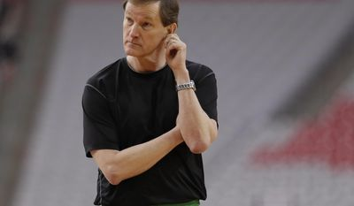 Oregon head coach Dana Altman watches his team during a practice session for their NCAA Final Four tournament college basketball semifinal game Friday, March 31, 2017, in Glendale, Ariz. (AP Photo/Mark Humphrey)