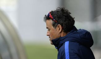 FC Barcelona's coach Luis Enrique attends a training session at the Sports Center FC Barcelona Joan Gamper in Sant Joan Despi, Spain, Saturday, April 1, 2017. Granada will play against FC Barcelona during a Spanish La Liga on Sunday. (AP Photo/Manu Fernandez)