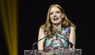 Actress Jessica Chastain accepts the Female Star of the Year Award at the Big Screen Achievement Awards on the final night of CinemaCon 2017 at Caesars Palace on Thursday, March 30, 2017, in Las Vegas. (Photo by Chris Pizzello/Invision/AP)