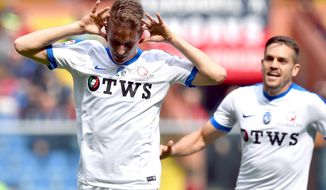 Atalanta's Andrea Conti, left,  jubilates after scoring during the Serie A soccer match between Genoa and Atalanta at the Luigi Ferraris stadium in Genoa, Italy,  Sunday, April 2 2017. (Simone Arveda/ANSA via AP)
