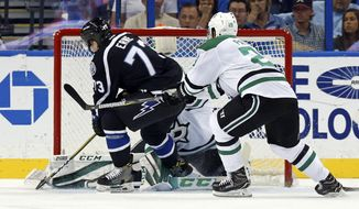Tampa Bay Lightning's Adam Erne fights off the check of Dallas Stars' Greg Pateryn to score during the first period of an NHL hockey game Sunday, April 2, 2017, in Tampa, Fla. (AP Photo/Mike Carlson)