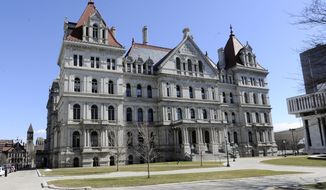 Exterior view of the New York state Capitol as legislative leaders work on the state budget in Albany, N.Y., Sunday, April 2, 2017. (AP Photo/Hans Pennink)