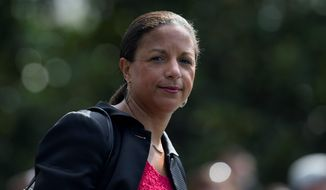 "Former National Security Adviser Susan E. Rice asked for the ""unmasking"" of people in dozens of raw intelligence reports on to the Trump campaign, sources told The Washington Times. (Associated Press/File)"