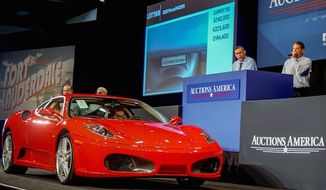 Auctions America sold a  a 2007 Ferrari F430 F1 Coupe that was previously owned by President Donald Trump for a record $270,000 on April 1, 2017. (Facebook, Auction America)