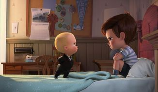 "This image released by DreamWorks Animation shows characters Tim, voiced by Miles Bakshi, right, and Boss Baby, voiced by Alec Baldwin in a scene from the animated film, ""The Boss Baby."" (DreamWorks Animation via AP)"