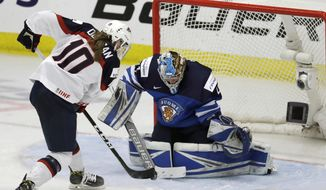 Finland goalie Noora Raty stops a shot by United States forward Meghan Duggan (10) during the second period of a IIHF Women's World Championship hockey tournament game, Monday, April 3, 2017, in Plymouth, Mich. (AP Photo/Carlos Osorio)