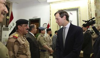 Jared Kushner, U.S. President Donald Trump's son-in-law and senior adviser, arrives at the Ministry of Defense, in Baghdad, Iraq, Monday, April 3, 2017. Kushner, flew to Iraq with the U.S. Joint Chiefs of Staff chairman Gen. Joseph Dunford on Monday.  (AP Photo)