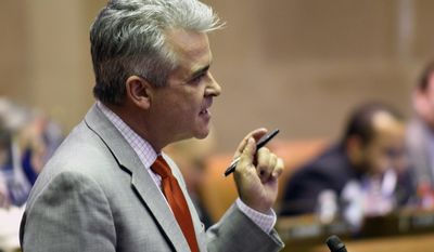 Assemblyman Steve McLaughlin, R-Troy, explains his vote against passing an emergency budget extension in place of the state budget in the Assembly Chamber at the state Capitol on Monday, April 3, 2017, in Albany, N.Y. (AP Photo/Hans Pennink)